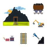 De pictogrammen van het mijnbouwbeeldverhaal in vastgestelde inzameling voor ontwerp Materiaal en van het hulpmiddelen de vectors Stock Afbeeldingen