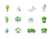 De pictogrammen van het milieu en van eco Stock Foto