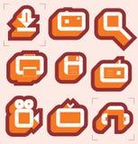De pictogrammen van het net voor media Stock Foto's