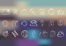 De pictogrammen van het netwerk Pictogrammen voor slimme telefoons en computers vector illustratie