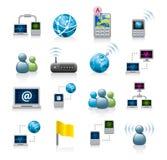 De pictogrammen van het netwerk of van Internet Royalty-vrije Stock Afbeeldingen