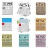 De pictogrammen van het nieuws Stock Afbeeldingen