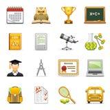 De pictogrammen van het onderwijs. Stock Foto's