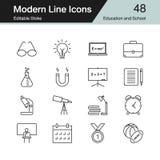 De pictogrammen van het onderwijs en van de school Moderne reeks 48 van het lijnontwerp Voor prese royalty-vrije illustratie