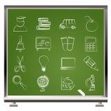 De pictogrammen van het onderwijs en van de school Stock Foto's