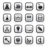 De pictogrammen van het onderwijs en van de school Stock Afbeeldingen