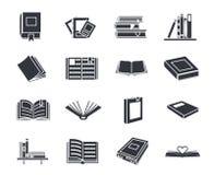 De pictogrammen van de het onderwijslezing van het boeksilhouet geplaatst geïsoleerde vectorillustratie royalty-vrije illustratie