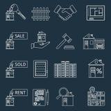 De pictogrammen van het onroerende goederenoverzicht Royalty-vrije Stock Fotografie