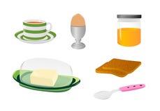 De pictogrammen van het ontbijt Stock Fotografie