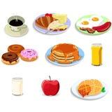 De pictogrammen van het ontbijtvoedsel royalty-vrije illustratie