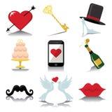 De pictogrammen van het ontwerphuwelijk voor Web en Mobiel in Vector Royalty-vrije Stock Fotografie