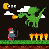 De pictogrammen van het Pixelatedvideospelletje royalty-vrije illustratie
