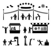 De pictogrammen van het pretparkpictogram royalty-vrije stock foto