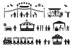 De pictogrammen van het pretparkpictogram stock fotografie