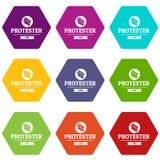 De pictogrammen van het protesteerderpamflet plaatsen vector 9 Royalty-vrije Stock Afbeeldingen