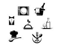 De pictogrammen van het restaurant en menuelementen Royalty-vrije Stock Foto