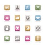 De pictogrammen van het restaurant, van het voedsel en van de drank Royalty-vrije Stock Fotografie