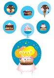 De pictogrammen van het roomijs en van de cake stock illustratie