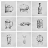 De pictogrammen van het schetsbier stock illustratie