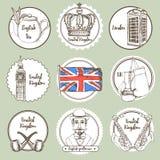 De pictogrammen van het schetsverenigd koninkrijk vector illustratie