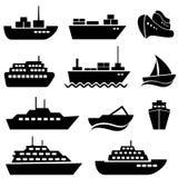 De pictogrammen van het schip en van de boot Stock Afbeelding