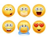 De pictogrammen van het Smileygezicht Grappige gezichten 3d realistische reeks Leuke gele gelaatsuitdrukkingeninzameling 2 royalty-vrije illustratie