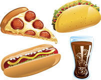 De pictogrammen van het snelle Voedsel Stock Foto's