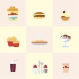 De Pictogrammen van het snelle Voedsel Stock Afbeelding