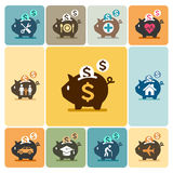 De pictogrammen van het spaarvarken Stock Foto