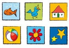 De pictogrammen van het speelgoed Stock Afbeeldingen