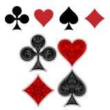 De pictogrammen van het speelkaartkostuum Stock Foto's