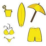 De pictogrammen van het strand Stock Foto's