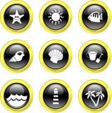 De pictogrammen van het strand Stock Fotografie