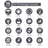 De pictogrammen van het strategieconcept, Stock Afbeeldingen