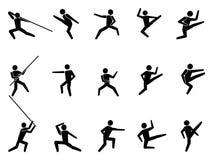 De pictogrammen van het symboolmensen van vechtsporten Stock Afbeeldingen