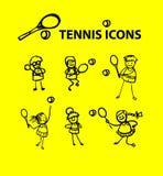 De pictogrammen van het tennis Stock Fotografie
