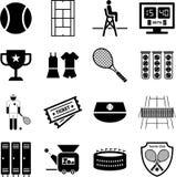 De pictogrammen van het tennis Stock Afbeeldingen