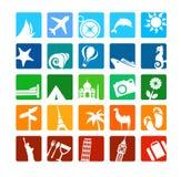 De pictogrammen van het toerisme en van de vakantie Stock Foto