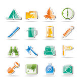 De pictogrammen van het toerisme en van de wandeling Royalty-vrije Stock Afbeelding