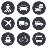 De pictogrammen van het vervoer Auto, fiets, bus en taxitekens Stock Fotografie
