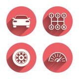 De pictogrammen van het vervoer Tachometer en wieltekens Royalty-vrije Stock Foto's