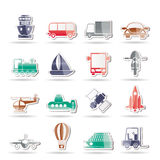 De pictogrammen van het vervoer, van de reis en van de verzending Stock Fotografie