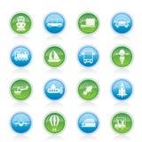 De pictogrammen van het vervoer, van de reis en van de verzending Stock Afbeeldingen