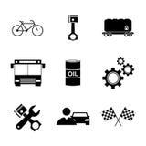 De pictogrammen van het vervoer Vlakke ontwerpstijl Stock Afbeeldingen