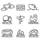 De pictogrammen van het vervoer (zwart-witte variatie) Stock Foto