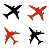 De pictogrammen van het vliegtuig Stock Foto's
