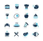 De Pictogrammen van het voedsel - 1 Azuurblauwe Reeks van // Stock Afbeeldingen