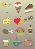 De pictogrammen van het voedsel Royalty-vrije Stock Foto's