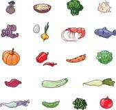 De pictogrammen van het voedsel Stock Foto's