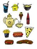 Voedselpictogrammen Royalty-vrije Stock Afbeeldingen